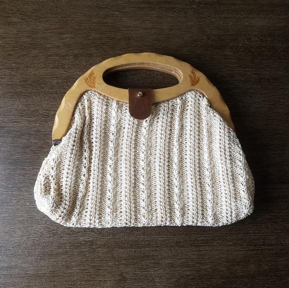Unbranded Bags Vintage Wood Handle Crochet Bag Purse Poshmark